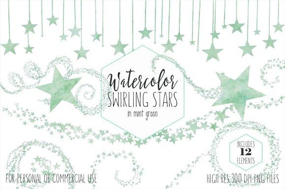 Mint Green Cute Watercolor Stars