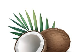 Whole and half coconut