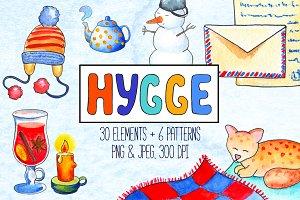 Cozy Winter Hygge Watercolor Clipart