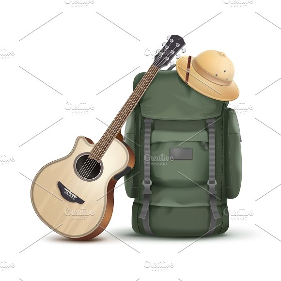 Backpack with hat and guitar
