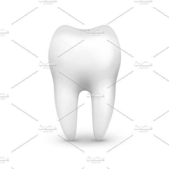 Single white tooth in Illustrations