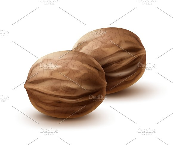 Two whole walnuts