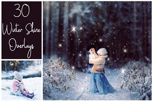 30 Magic Winter Shine Overlays PNG