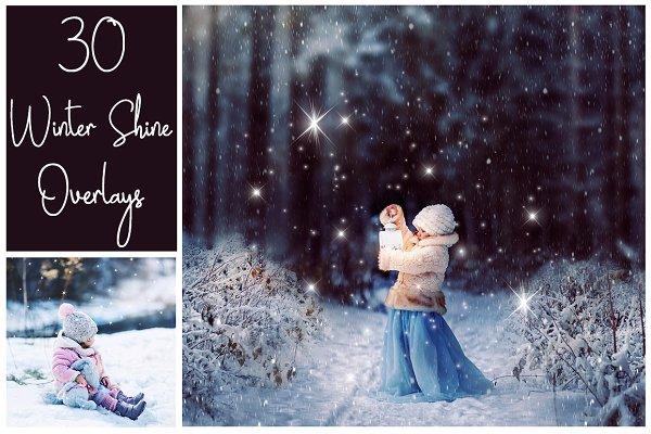 30 Magic Winter Shine Overlays PNG