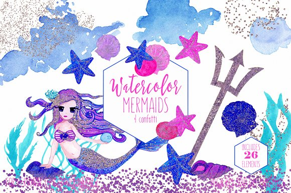 Cute Watercolor Mermaid Clipart