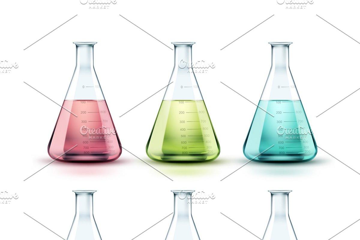 Set of flasks in Illustrations