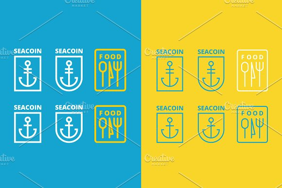 three vector logos of anchor