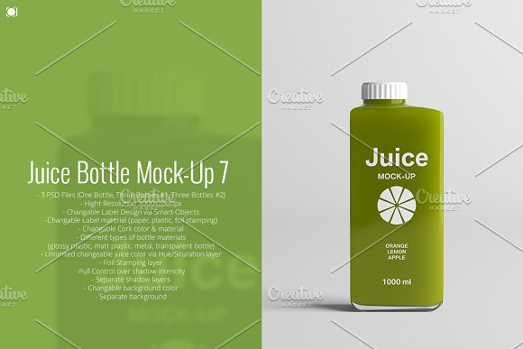Free Juice Bottle Mock-Up 7