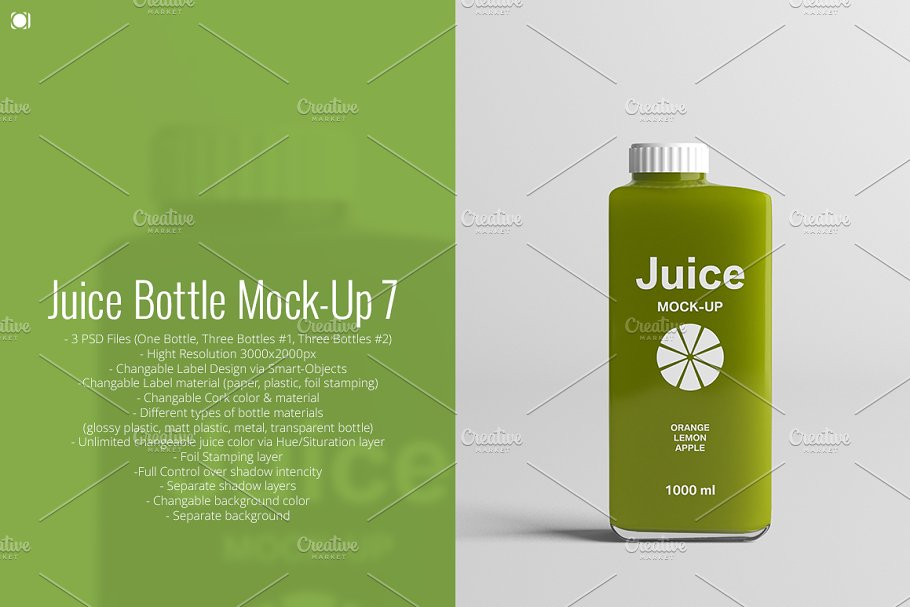 Juice Bottle Mock-Up 7 ~ Product Mockups ~ Creative Market