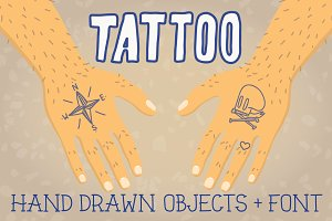 Old school tattoo objects + font