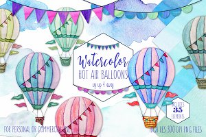 Watercolor Hot Air Balloon Graphics