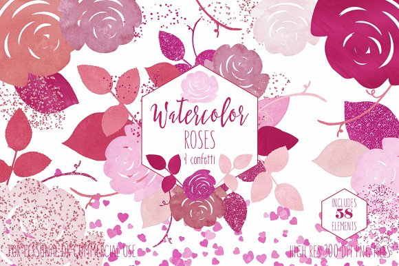 Pink Watercolor Floral Roses