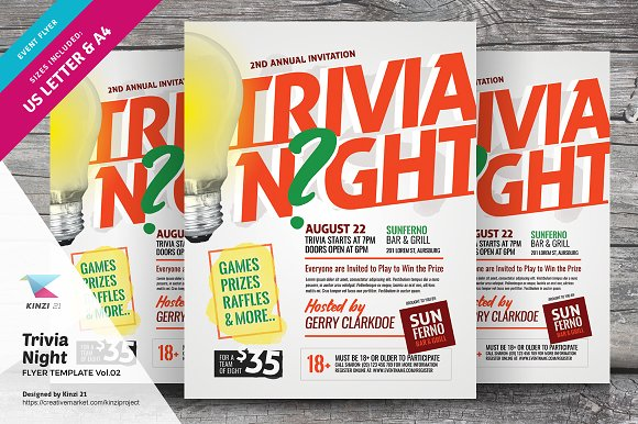 trivia night flyer template vol 02 flyer templates creative market