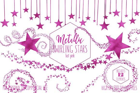 Metallic Pink Foil Star Graphics