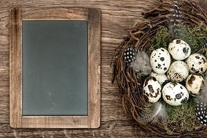 Easter eggs and blackboard
