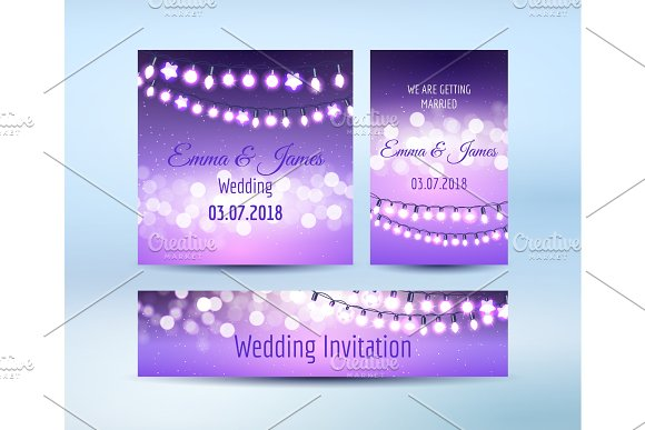 Lilac lights bokeh and garlands cards