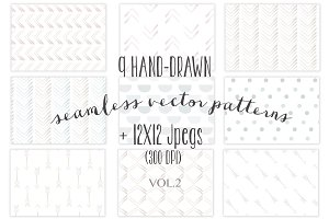 9 Seamless hand-drawn patterns vol.2