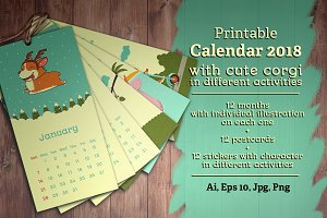 Illustrated Printable Calendar 2018
