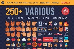Various, 250+ pixel icons.