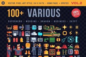 Various, 100+ pixel icons