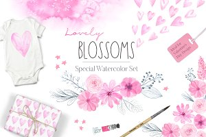 Watercolor Lovely Blossoms Set