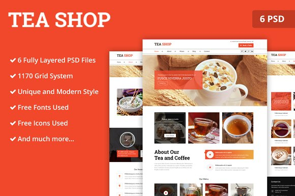 Tea Store PSD Website Template