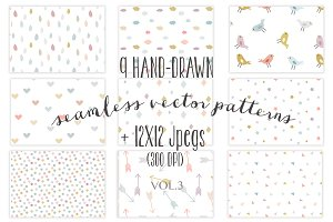 9 colorful seamless patterns