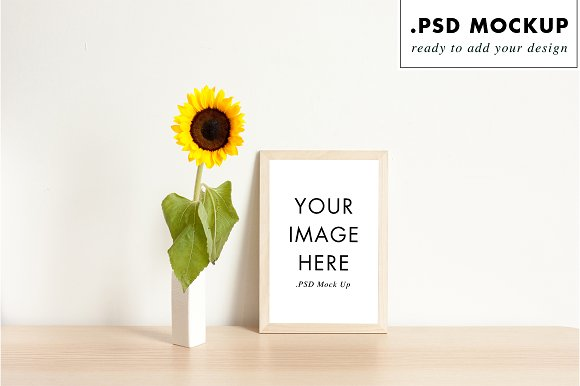 Flower bouquet and frame mockup