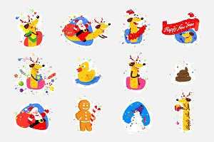 Set of stickers for the new year.