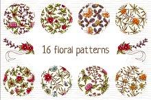 Set of floral patterns