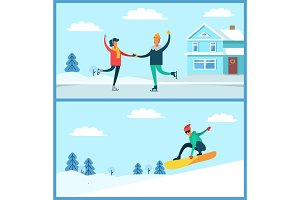 People Skating, Snowboarding Vector Illustration