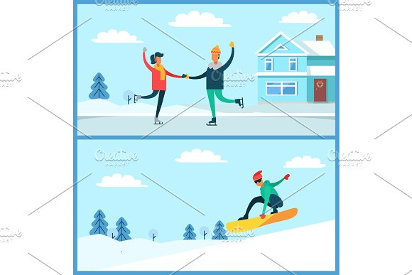 People Skating, Snowboarding Vector Illustration in Illustrations