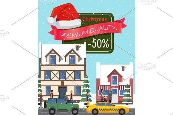 Christmas Sale -50% Off Poster Vector Illustration