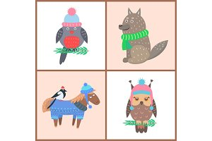 Collection of Posters Animals Vector Illustration
