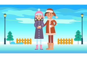 Boy and Girl in Winter Park Vector Illustration
