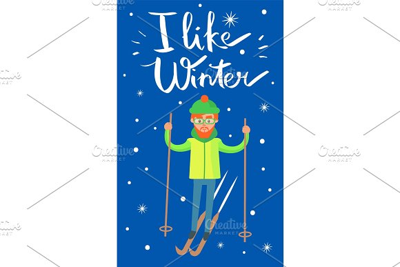 I Like Winter Skier Poster Vector Illustration