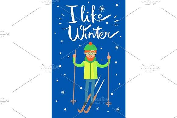 I Like Winter Skier Poster Vector Illustration in Illustrations