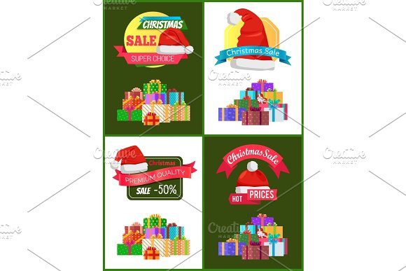 Collection of Christmas Sale Promo Stickers Hats