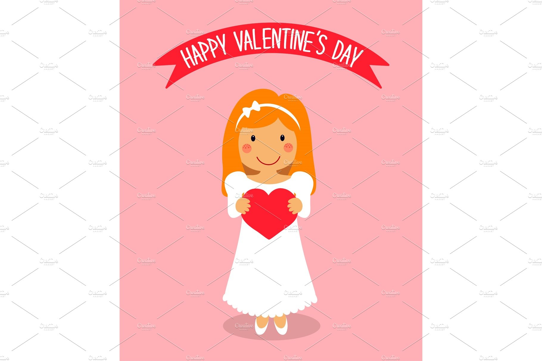 Cartoon Characters Valentines Day : Cute valentine s day card with funny cartoon character of
