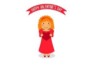 Cute Valentine's Day card with funny cartoon character of loving girl with heart in hands