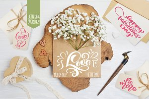 Valentine's Day lettering overlays
