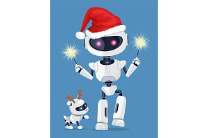 Festive Robot in Red Santa`s Hat with Cute Puppy