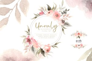 Unruly Watercolor Flowers Set