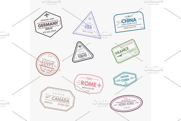 Rubber visa stamps