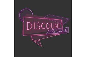 Line discount neon banner