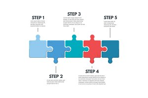 Puzzle infographic steps