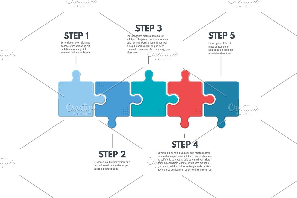 save  puzzle infographic steps