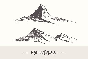 Two illustrations of mountain peaks