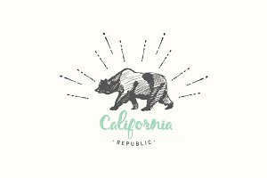 California Republic, vintage emblem