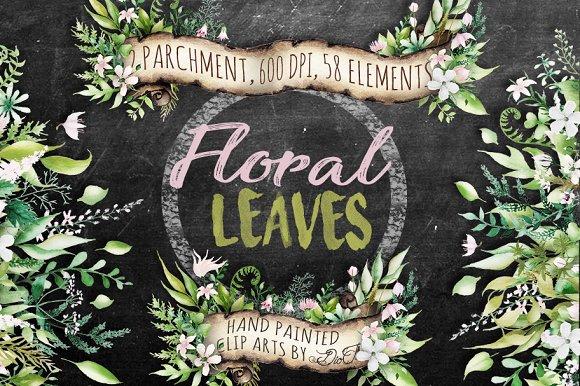 Floral Leaves Watercolor Clip Art